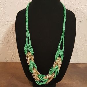 Green glass seed bead/chain necklace